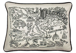Minnesota Hand-Guided Machine Embroidered Pillow