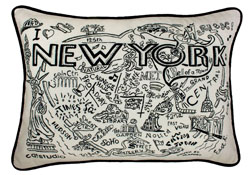 New York City Hand-Guided Machine Embroidered Pillow