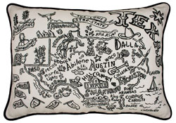 Texas Hand-Guided Machine Embroidered Pillow