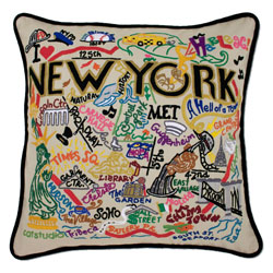 New York City Embroidered Pillow