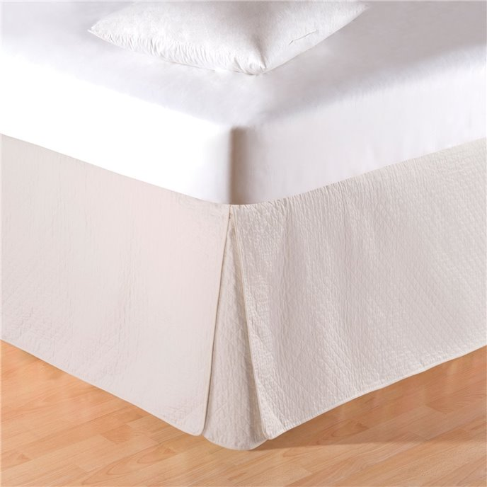 Cream Quilted Queen Bedskirt