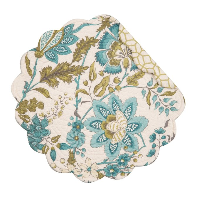 Adrienne Meadow Round Quilted Placemat