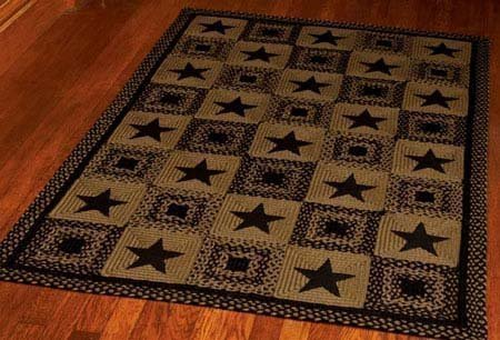 Country Star Black Rectangular 27 X 48 Rug