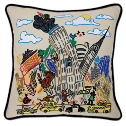 Empire State Embroidered Pillow