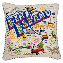 Fire Island Embroidered Pillow