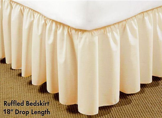 Long Plain 18 inch Twin Ivory Bedruffle