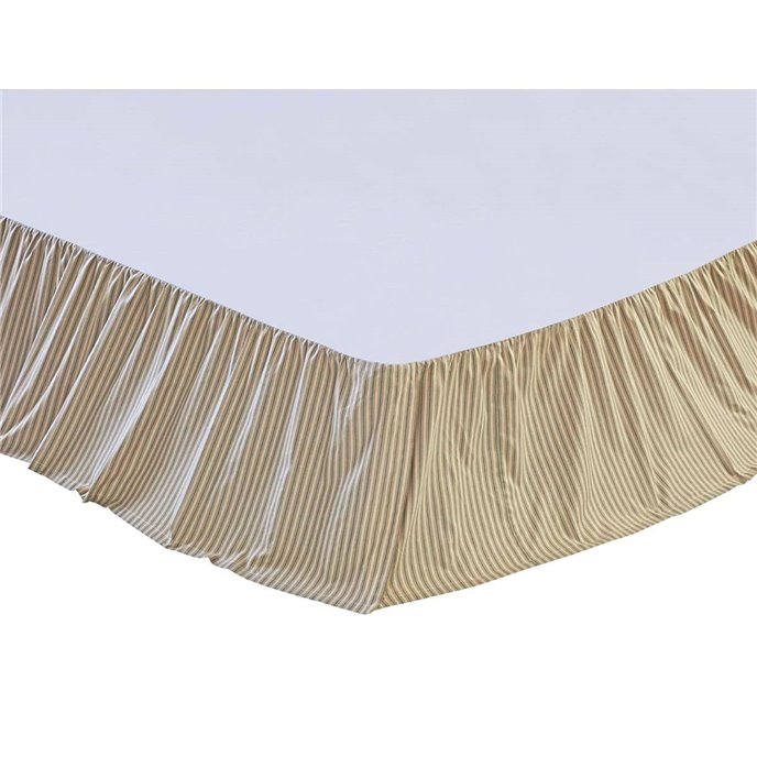 Prairie Winds Green Ticking Twin Bed Skirt