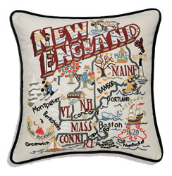 New England Embroidered Pillow