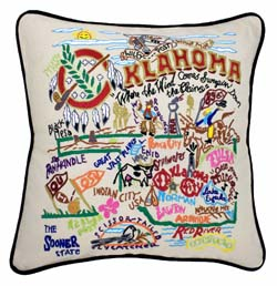 Oklahoma Embroidered Pillow