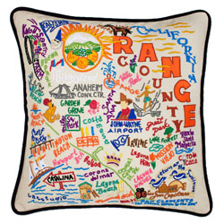 Orange County Embroidered Pillow
