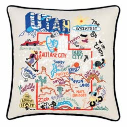 Utah Embroidered Pillow