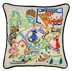 West Virginia Embroidered Pillow