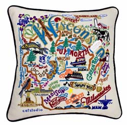 Wisconsin Embroidered Pillow