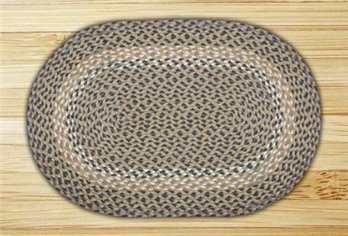 "Blue & Natural Oval Braided Rug 20""x30"""