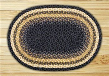 "Light Blue, Dark Blue & Mustard Oval Braided Rug 20""x30"""