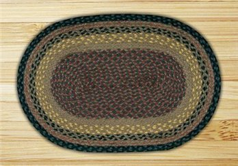 "Brown, Black & Charcoal Oval Braided Rug 20""x30"""