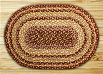 "Burgundy, Gray & Cream Oval Braided Rug 20""x30"""