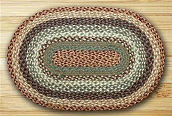 "Buttermilk & Cranberry Oval Braided Rug 20""x30"""