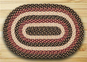 "Burgundy, Black & Dijon Oval Braided Rug 20""x30"""