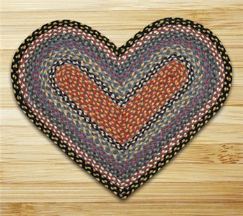 "Burgundy, Blue & Gray Heart Shaped Braided Rug 20""x30"""