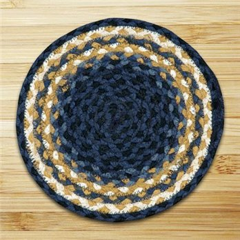 Light Blue, Dark Blue & Mustard Round Braided Rug 4'x4'