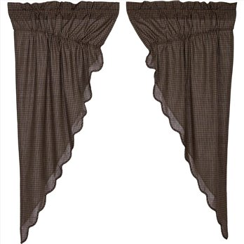 Kettle Grove Plaid Prairie Short Panel Scalloped Set of 2 63x36x18
