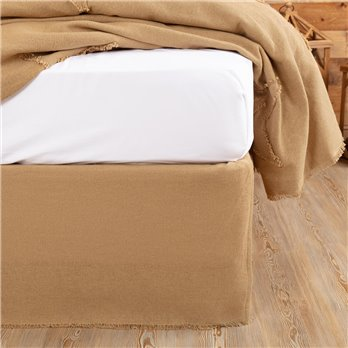 Burlap Natural Fringed Twin Bed Skirt
