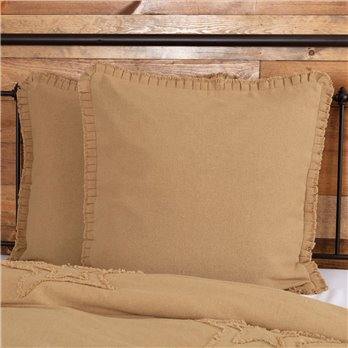 Burlap Natural Ruffled Euro Sham