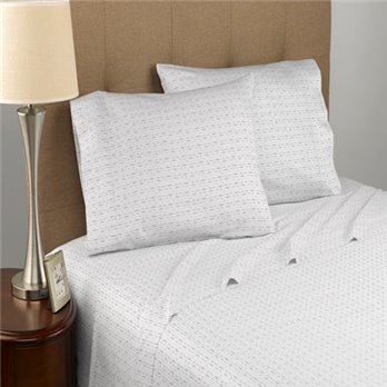 Modern Living Dotted Line T300 Certified Organic White King Sheet Set