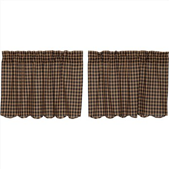 Navy Check Scalloped Tier Set of 2 L24xW36