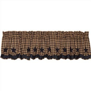 Navy Star Scalloped Layered Valance 16x72