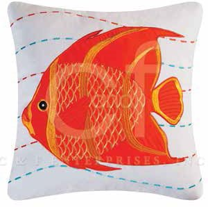 Captiva Island Orange Fish Embroidered Pillow