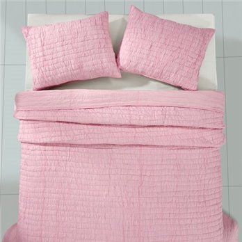 Rochelle Pale Pink 3 Piece Queen Quilt Set