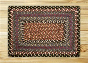 Burgundy, Blue & Gray Rectangle Braided Rug 2'x6'