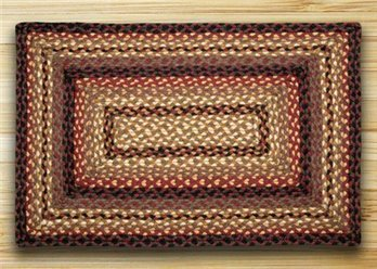"Black Cherry, Chocolate & Cream Rectangle Braided Rug 20""x30"""