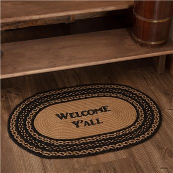 Farmhouse Jute Rug Oval Stencil Welcome Y'all 20x30