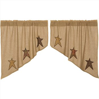 Stratton Burlap Applique Star Swag Set of 2 36x36x16