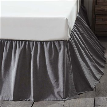 Black Chambray Twin Bed Skirt 39x76x16