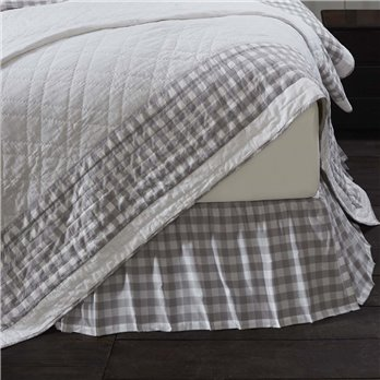 Annie Buffalo Grey Check King Bed Skirt 78x80x16