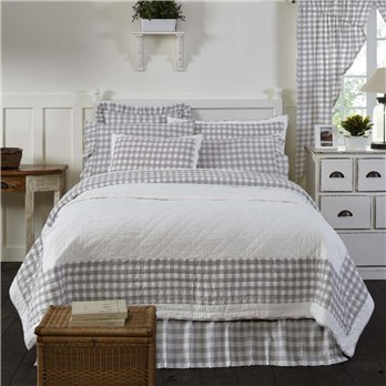 Annie Buffalo Grey Check Queen Quilt 90Wx90L
