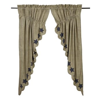 "Vincent Scalloped Prairie Curtain Set of 2 63""x36"""