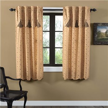 Maisie Short Panel Attached Scalloped Layered Valance Set of 2 63x36