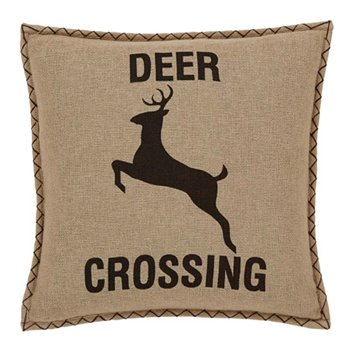 "Dawson Star Deer Crossing Pillow W/Down Fill 18""x18"""