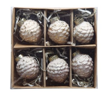 Glass Pinecone Ornaments Boxed Set of 6