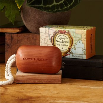 Caswell-Massey Sandalwood Woodgrain Soap on a Rope Earlier Packaging  (8 oz)