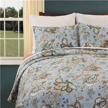 Bethany Blue 3 Piece Queen Quilt Set