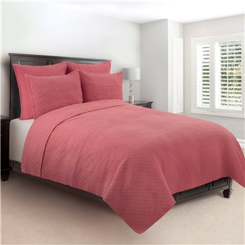 Basketweave Coral 2 Piece Twin Quilt Set