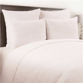 Scallop Shell White 3 Piece Queen Quilt Set