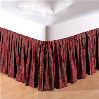 Burgundy & Green Plaid Queen Bedskirt