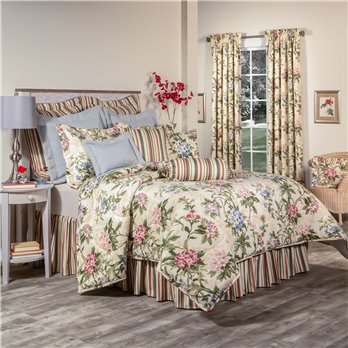 "Hillhouse Queen  Comforter Set with 15"" Bed Skirt in Stripe"